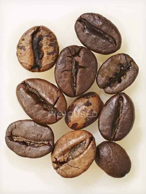 Вид сверху на десять сухих кофейных зерен — стоковое фото