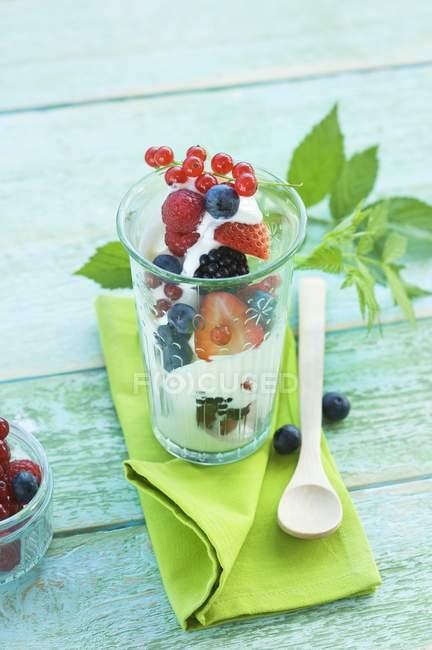 Yogourt avec fruits frais — Photo de stock