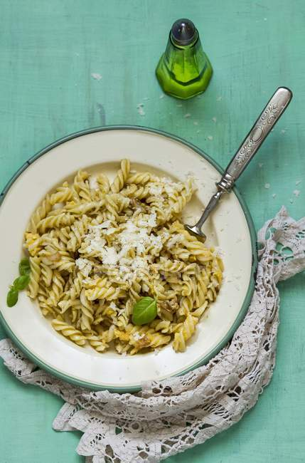 Fusilli carbonara pasta — Stock Photo