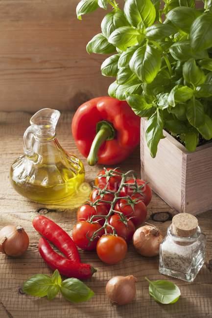 Un arreglo de verduras, especias, albahaca y aceite de oliva - foto de stock