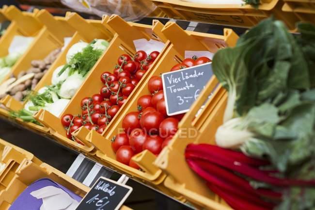 Hortalizas en cajas en el mercado - foto de stock
