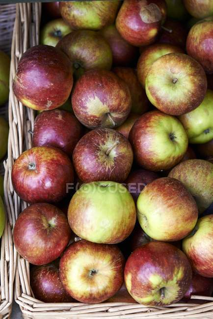 Organic apples in basket — Stock Photo