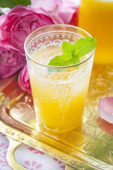 Peach cocktail with vodka and mint — Stock Photo