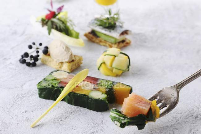 Terrina de salmón y varios aperitivos - foto de stock