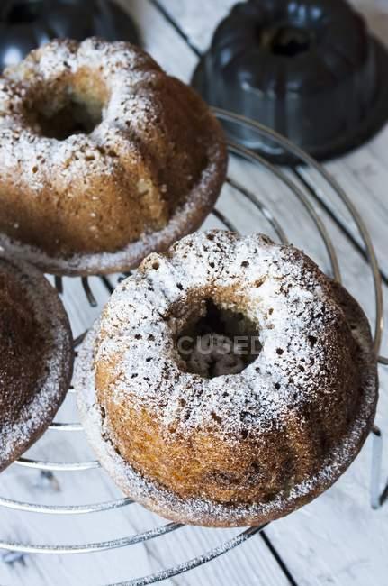 Мини-пирожные выпекание с сахарной пудрой — стоковое фото