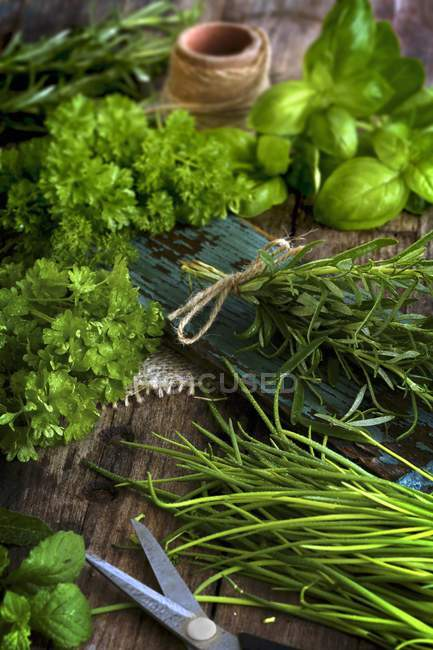 Closeup view of various herbs on a rustic board — Stock Photo