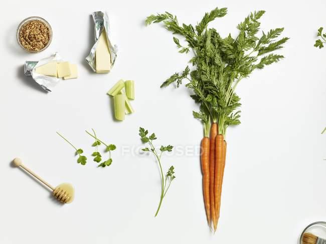 Varios ingredientes de sopa sobre fondo blanco - foto de stock