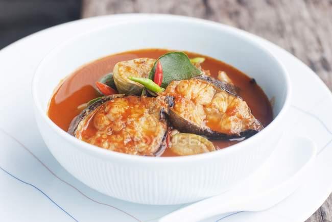Würzig saures Fischcurry mit Wels — Stockfoto