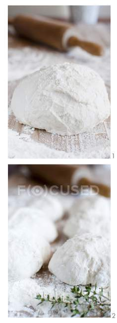 Bread dough with flour — Stock Photo