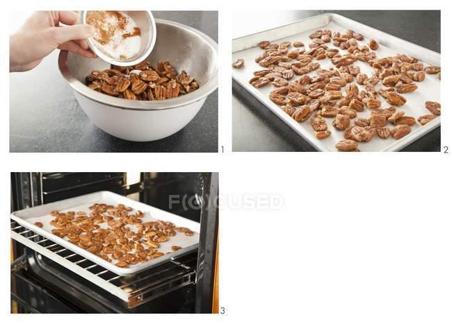 Tres imágenes que ilustran la preparación de nueces especiadas en bandeja para hornear en horno - foto de stock