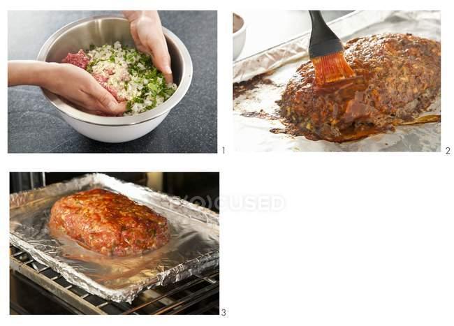 Steps for Making Meatloaf — Stock Photo