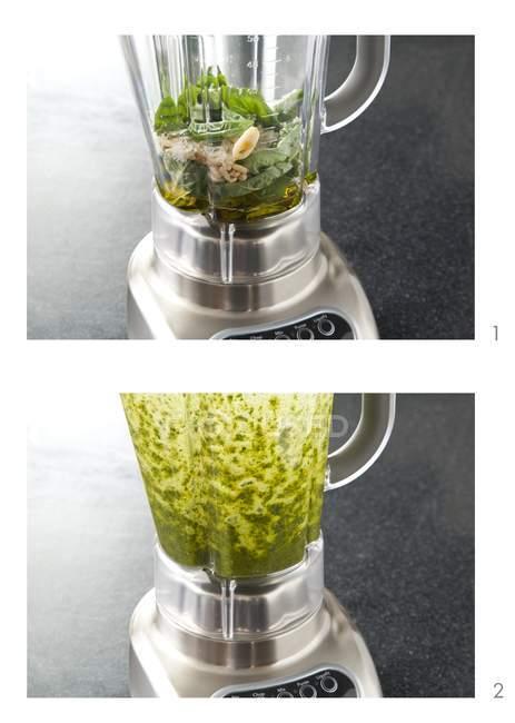 Two images illustrating preparing Pesto in blender — Stock Photo