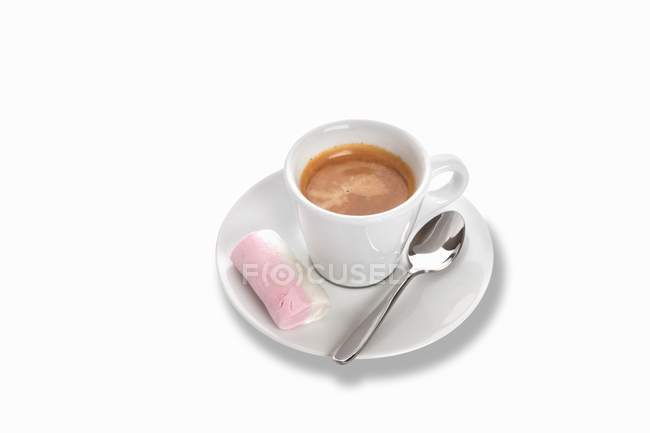 Cup of Espresso with marshmallow — Stock Photo