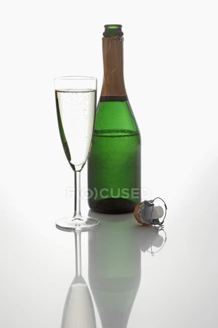 Бутылка и бокал вина искрообразования — стоковое фото
