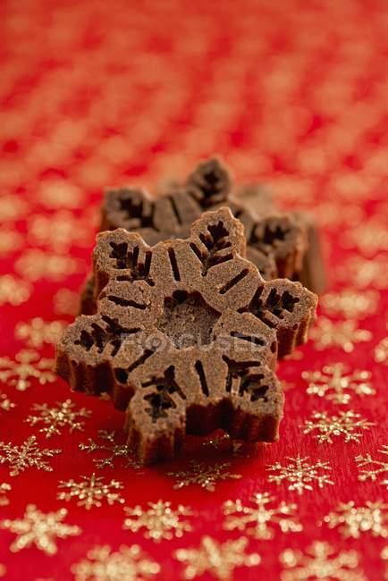 Mini torte di cioccolato a forma di fiocco di neve — Foto stock