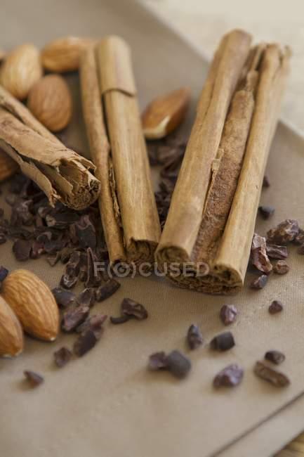 Canela, almendras y semillas de cacao - foto de stock
