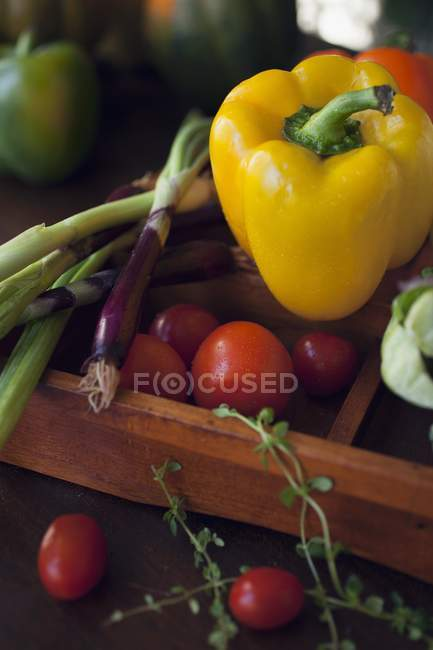 Yellow pepper with red spring onions — Stock Photo