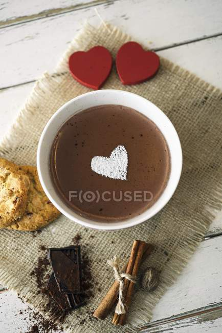 Chocolate pudding decorated with a icing sugar — Stock Photo