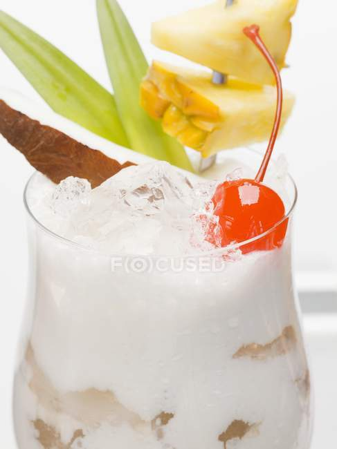 Closeup view of Pina Colada cocktail with ice cubes — Stock Photo