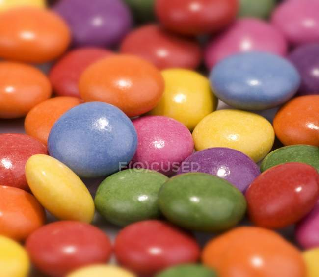 Closeup view of colored chocolate beans — Stock Photo