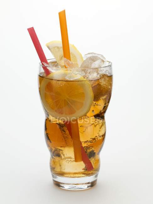 Rum drink with ice cubes — Stock Photo