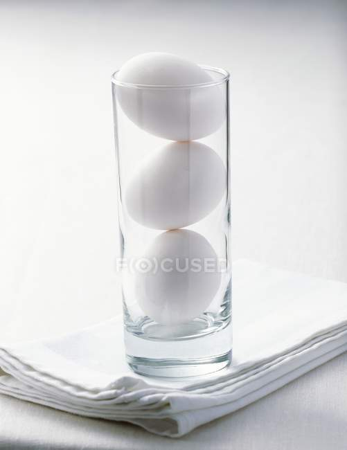 White chicken eggs — Stock Photo