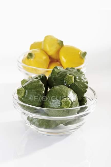 Зелений і жовтий Патті пан сквош — стокове фото