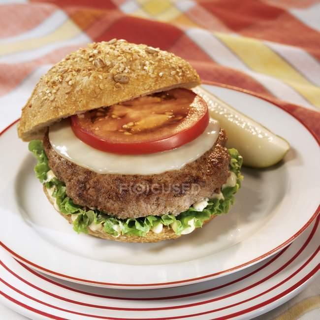 Cheeseburger con pomodoro e cetriolo — Foto stock