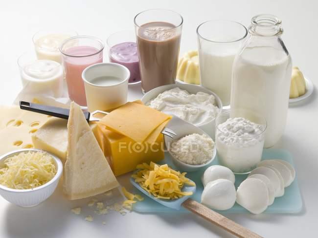 Vários produtos lácteos — Fotografia de Stock