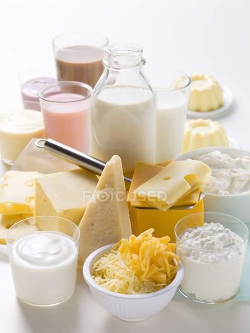 Verschiedene Milchprodukte — Stockfoto