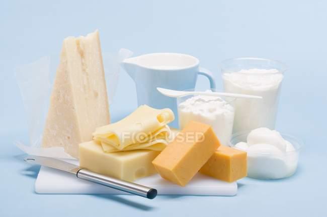 Bodegón con queso duro - foto de stock
