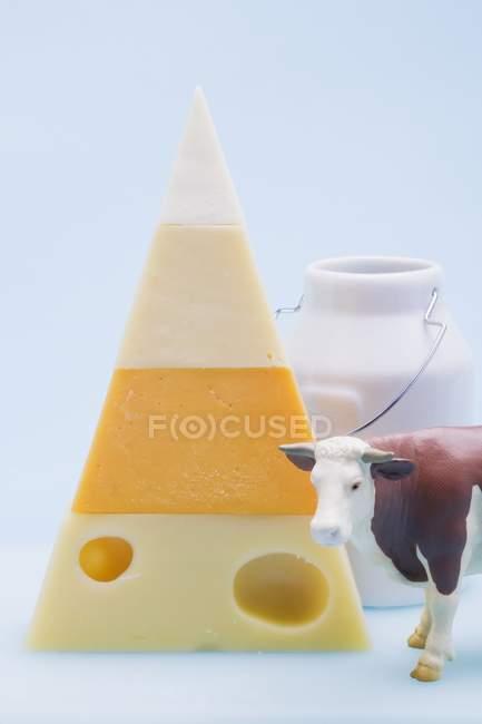 Pyramid of hard cheeses — Stock Photo