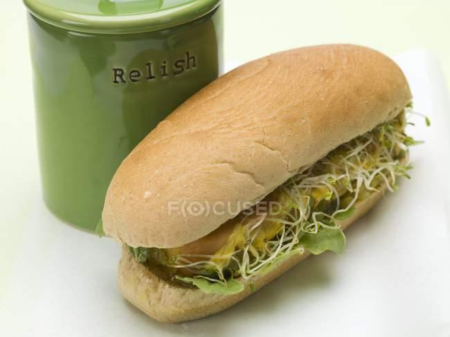 Hot dog con brotes - foto de stock