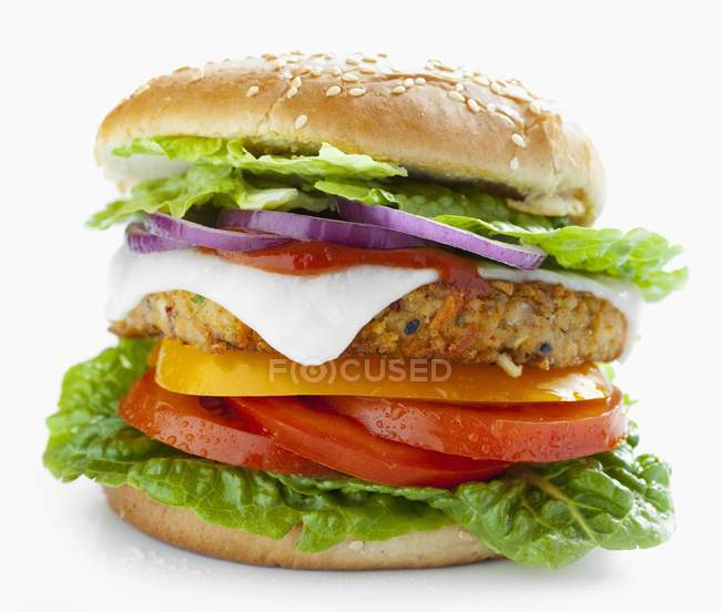 Vegetarian burger with vegetable patty — Stock Photo