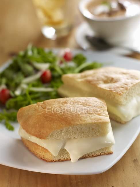 Фокаччо і Crescenza сиру — стокове фото