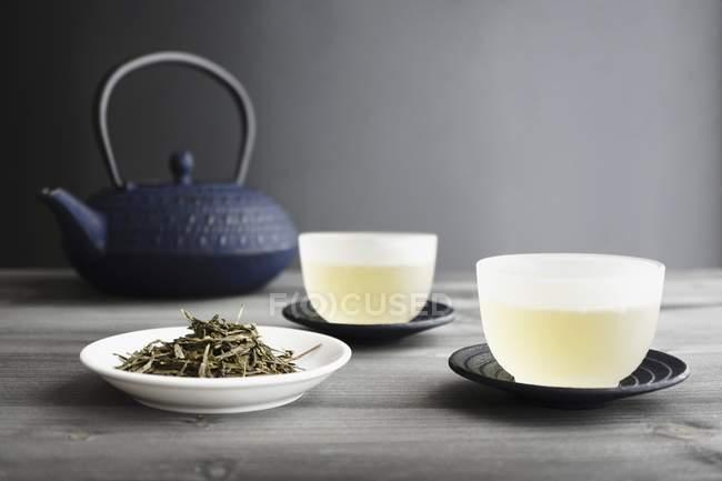 Tasses de thé vert — Photo de stock