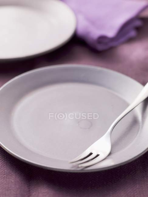 Empty plate with fork — Stock Photo