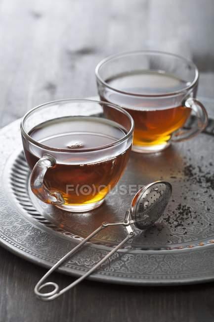 Tea in glass cups — Stock Photo