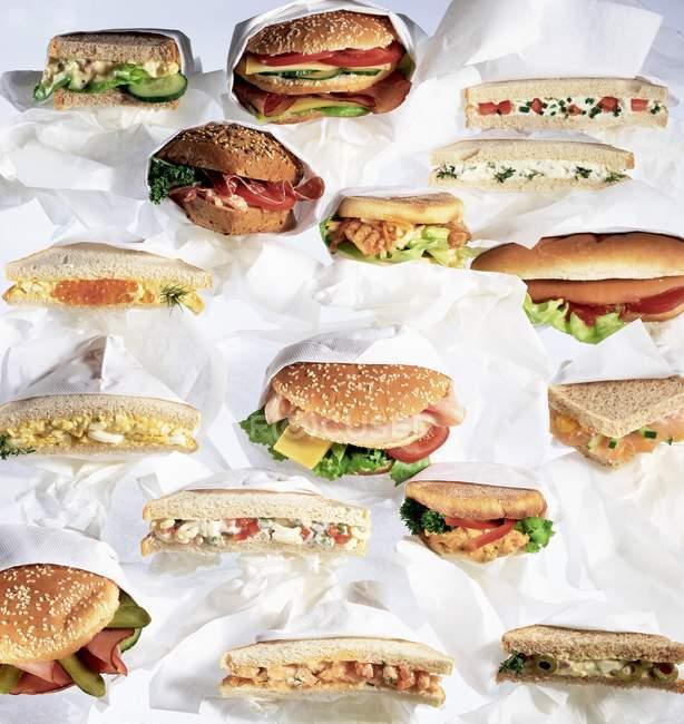 Разнообразные сэндвичи и бургеры — стоковое фото