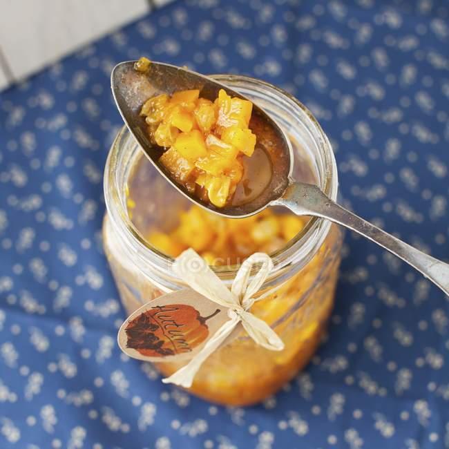 Hubbard squash preservare con un cucchiaio nel vasetto aperto — Foto stock