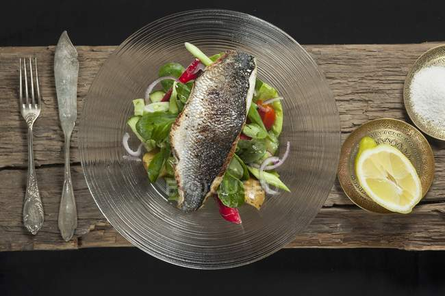 Nile perch on bed of salad — Stock Photo