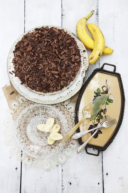 Banane und Schokoladenkuchen — Stockfoto