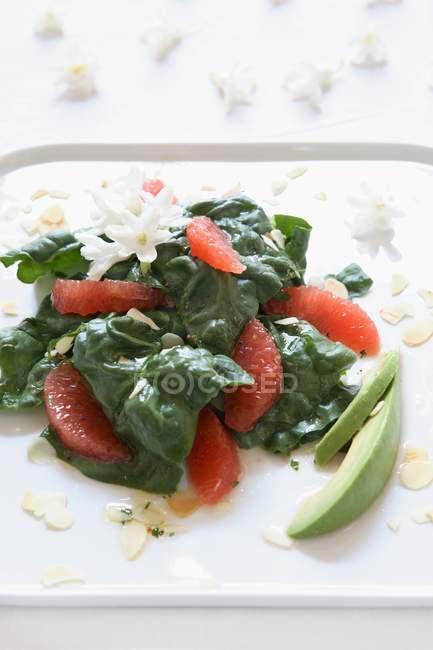 Detailansicht der Spinat-Salat mit Grapefruit, Avocado und Mandelsplitter — Stockfoto