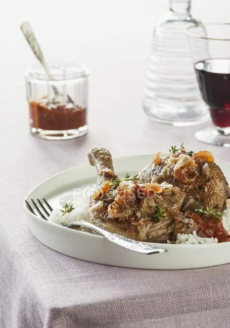 Anatra con pomodori e vermouth — Foto stock