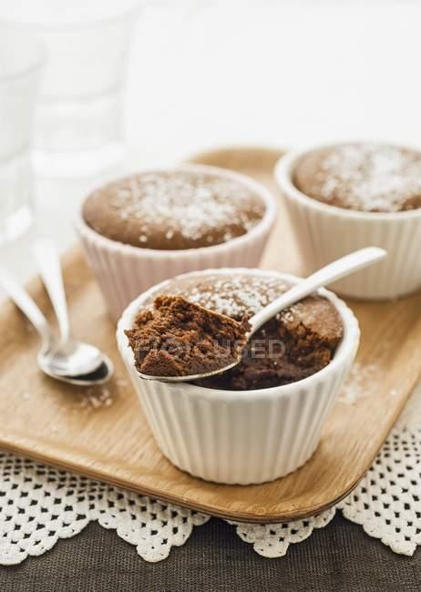 Mocha and caramel puddings — Stock Photo