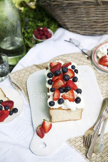 Angel food cake with fresh berries — Stock Photo