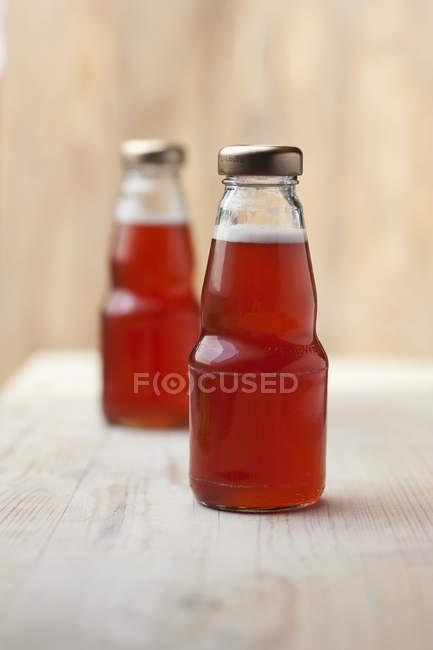Succo di rabarbaro in bottiglie — Foto stock