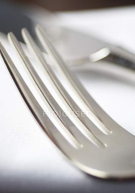 Closeup view of one metal fork — Stock Photo