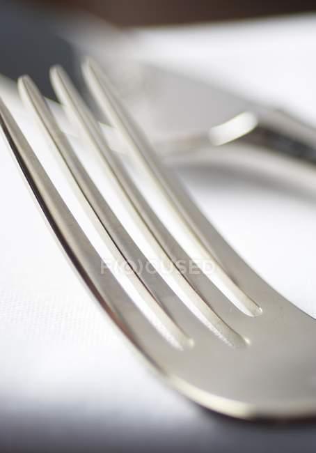 Detailansicht einer Metall-Gabel — Stockfoto