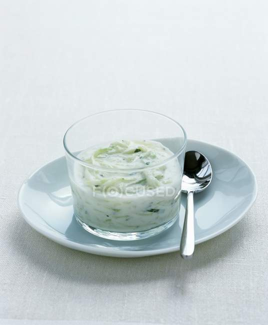 Tzatziki blanc sauce aux légumes avec une cuillère sur une plaque — Photo de stock